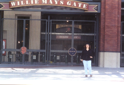 Michelle at Willie Mays Gate